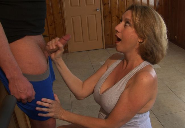 stepmom stroking cock
